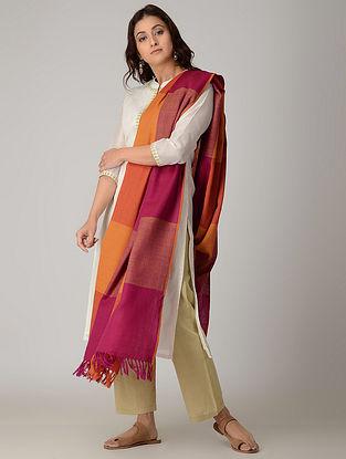 Pink-Yellow Merino Wool Shawl