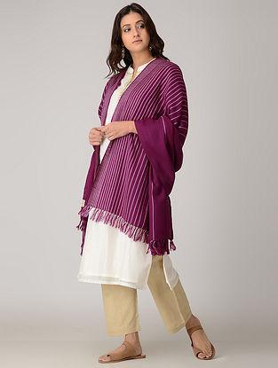 Purple-Ivory Merino Wool Shawl