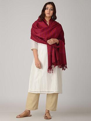 Red-Purple Merino Wool Shawl
