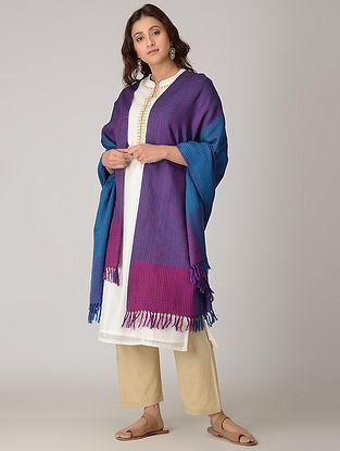 Purple-Blue Merino Wool Shawl