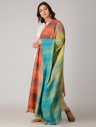 Blue-Red Merino Wool Shawl
