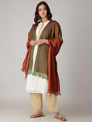 Green-Red Merino Wool Shawl