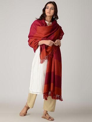 Orange-Pink Merino Wool Shawl