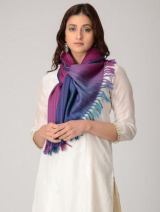 Magenta-Blue Merino Wool Stole