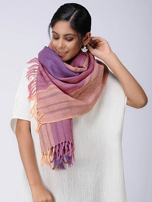 Purple-Beige Wool Linen Stole
