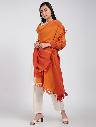 Orange Merino Wool Shawl