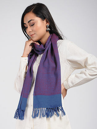 Purple-Blue Merino Wool Scarf