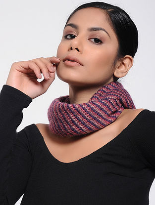 Pink-Blue Wool Neck Warmer