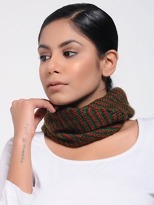 Green-Red Wool Neck Warmer