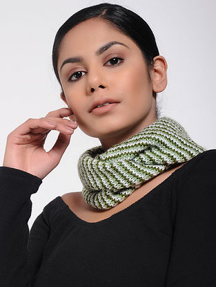 Ivory-Green Wool Neck Warmer