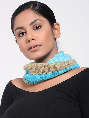 Turquoise-Beige Wool Neck Warmer