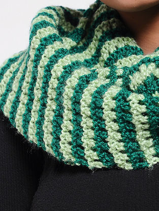 Ivory-Green Wool Loop
