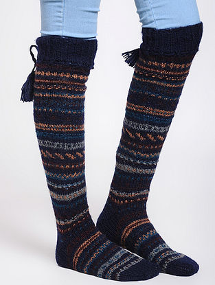 Blue-Brown Wool Socks