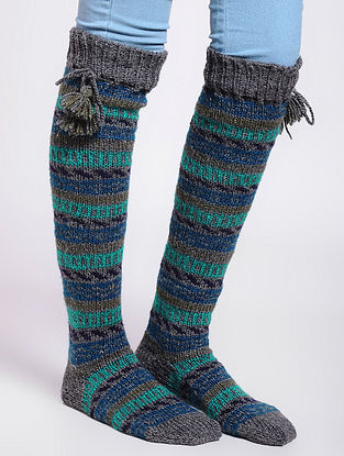 Grey-Blue Wool Socks