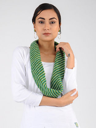 Green-Ivory Hand Knitted Wool Blend Neckwarmer