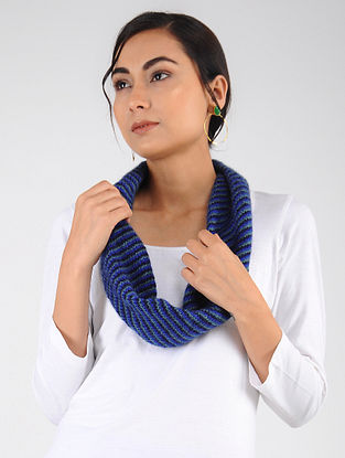 Blue Hand Knitted Wool Blend Neckwarmer