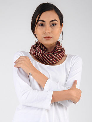 Red-Ivory Hand Knitted Wool Blend Neckwarmer