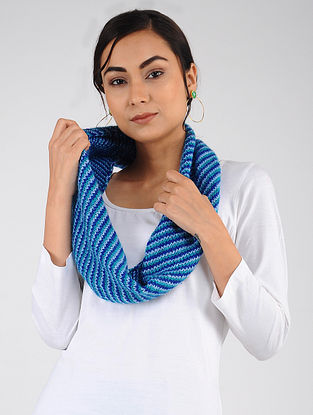 Blue-Ivory Hand Knitted Wool Blend Neckwarmer
