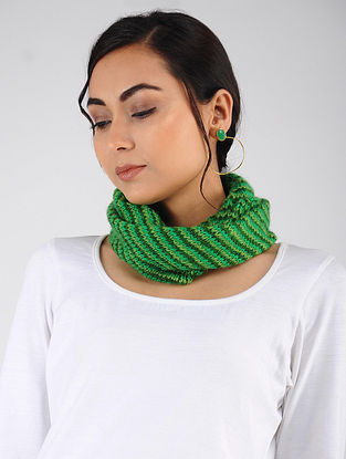 Green Hand Knitted Wool Blend Neckwarmer