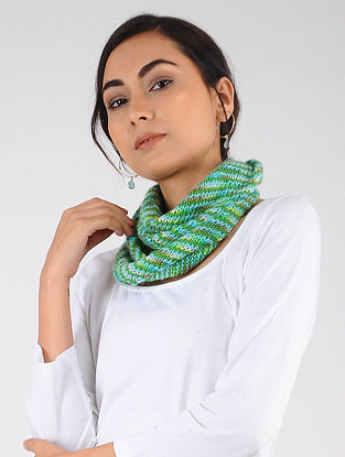 Green-Turquoise Hand Knitted Wool Blend Neckwarmer