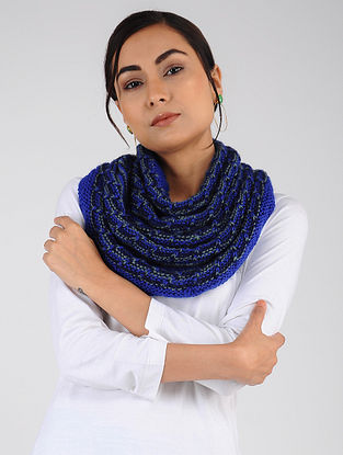 Blue Hand Knitted Wool Blend Cowl
