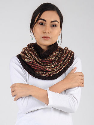 Maroon-Ivory Hand Knitted Wool Blend Cowl