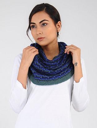 Blue-Green Hand Knitted Wool Blend Cowl