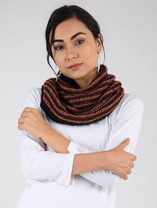 Red-Black Hand Knitted Wool Blend Cowl