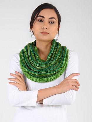Green Hand Knitted Wool Blend Cowl