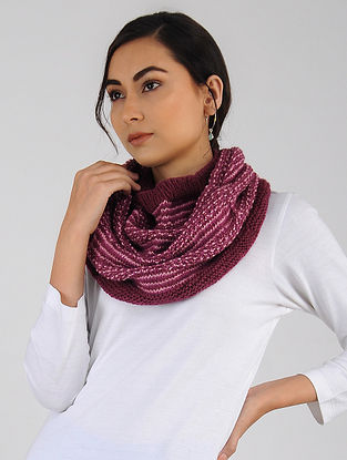 Pink Hand Knitted Wool Blend Cowl