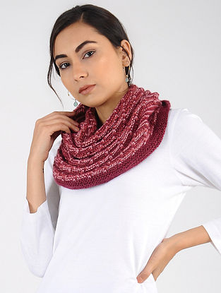 Red Hand Knitted Wool Blend Cowl