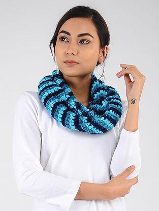 Blue Hand Knitted Wool Blend Loop
