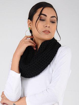 Black Hand Knitted Wool Blend Loop