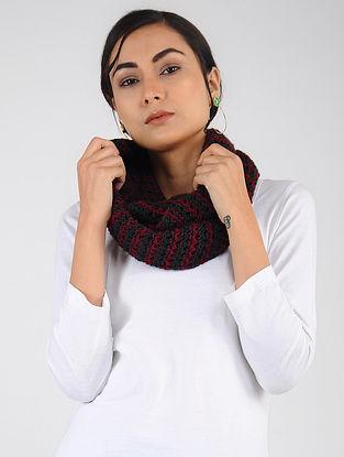 Black-Red Hand Knitted Wool Blend Loop
