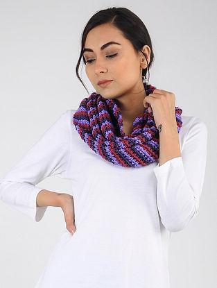 Purple-Red Hand Knitted Wool Blend Loop