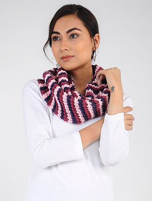 Red-Blue Hand Knitted Wool Blend Loop