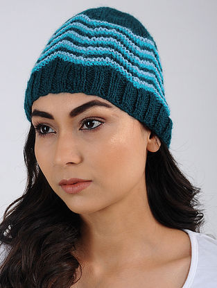 Blue Hand Knitted Wool Blend Cap