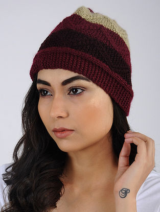 Red-Ivory Hand Knitted Wool Blend Cap