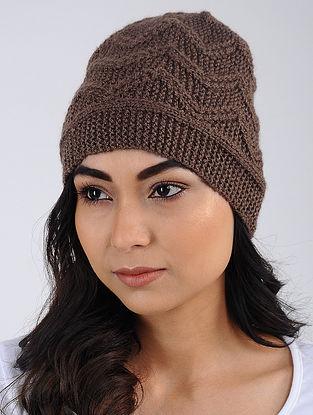 Burgundy Hand Knitted Wool Blend Cap