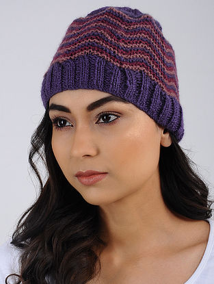 Purple-Red Hand Knitted Wool Blend Cap