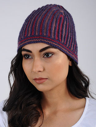 Blue-Red Hand Knitted Wool Blend Cap