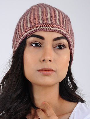 Mauve-Ivory Hand Knitted Wool Blend Cap
