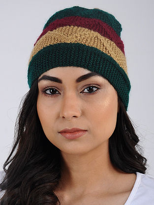 Green-Red Hand Knitted Wool Blend Cap
