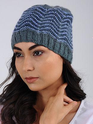 Blue-Grey Hand Knitted Wool Blend Cap