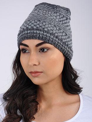 Grey Hand Knitted Wool Blend Cap