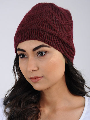 Red Hand Knitted Wool Blend Cap