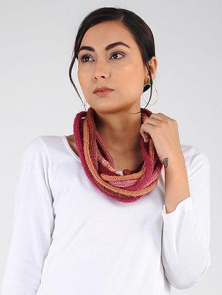 Pink-Peach Hand Knitted Wool Blend Muffler