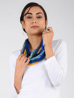 Blue-Yellow Hand Knitted Wool Blend Muffler