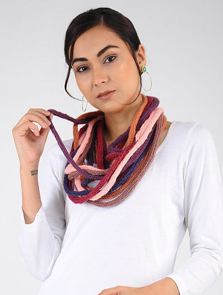 Multicolored Hand Knitted Wool Blend Muffler