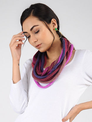 Pink-Blue Hand Knitted Wool Blend Muffler